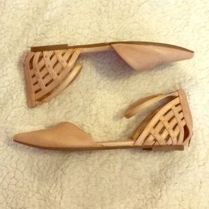 Jessica Simpson pink zip up flats with stud detail